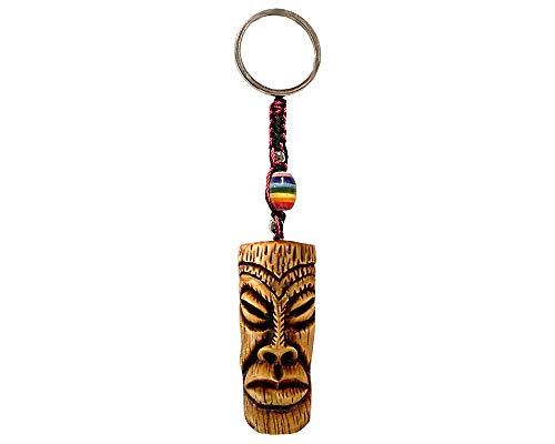 (Lips Polynesian Tiki Head Mask Handpainted Figurine Dangle Handmade Keychain Multicolored Braided Macramé Bead Silver Keyring Hanging Ornament Charm Car Bag Accessory)