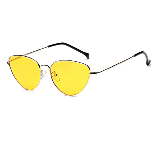 VIASA Women Men Summer Vintage Cat Eye Glasses Unisex Fashion Aviator Travel Sunglasses (Yellow, - To Sunglasses Aviator Buy Where