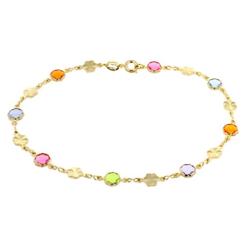 7″ Multi-Color Flower Shape Crystal Yellow Gold Plated Brass Bracelet