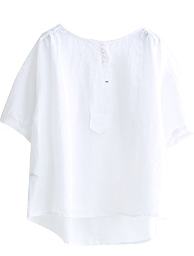 Minibee Women's Hi-low Tunics Blouse Loose Linen Shirt Tops 2XL White ()