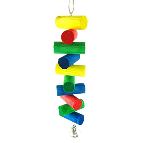(Ikevan 1 pc Parrot Pet Bird Macaw Hanging Chew Toy Bells Wood Blocks Swing Colorful)