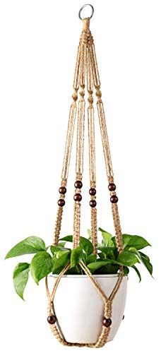 - Mkono Plant Hanger Indoor Hanging Planter Basket Flower Pot Holder Jute Rope with Beads 35 Inch