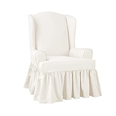 SureFit SF46969 Slipcover with Scotchgard, Wing Chair, White