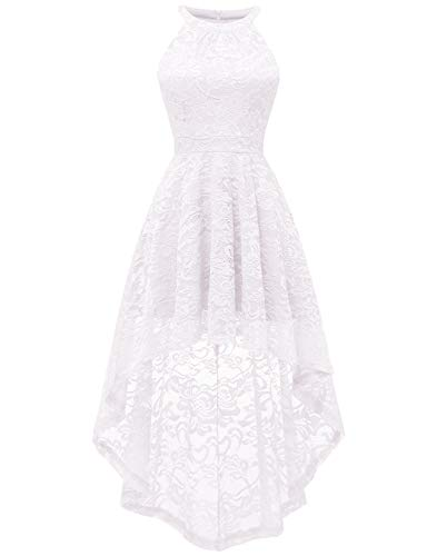 BeryLove Women's Halter Hi-Lo Floral Lace Cocktail Dress Sleeveless Bridesmaid Formal Swing Dress BLP7028White2XL
