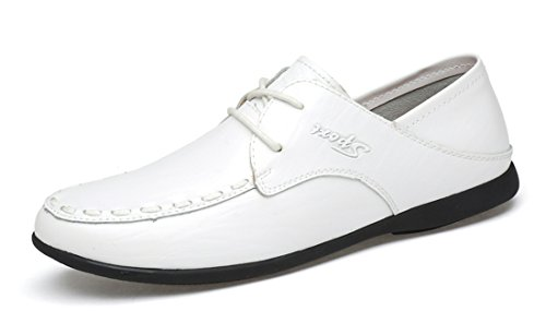 TDA Mens Fashion Lace-up Synthetic Casual Dress Stitching Loafers Driving Shoes White