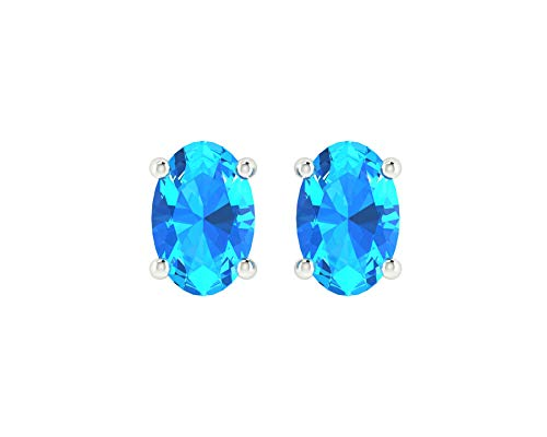 Euforia Jewels 14K White Gold Top Quality Natural Swiss Blue Topaz 6X4 MM Oval Cut Stud Earrings With Silver Sillicon Post For Women ()