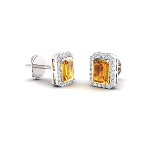 Diamondere Natural and Certified Citrine and Diamond Petite Stud Earrings in 14K White Gold | 0.67 Carat Halo Earrings for Women
