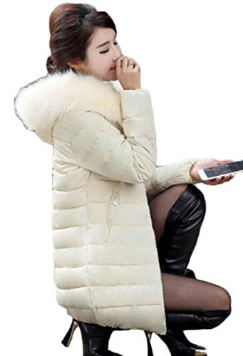 Down TTYLLMAO Faux Coat Warm Jacket Long Fur Winter Hooded Down Puffer Beige Parka Women's TwqPRgnqB