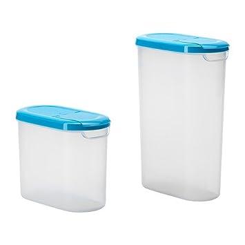 IKEA JAMKA  Dose Mit Deckel 2er Set Transparent Weiß Blau   1.1/1.9