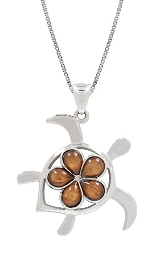 Koa Plumeria Pendant (Sterling Silver Koa Wood Turtle with Plumeria Necklace Pendant and 18