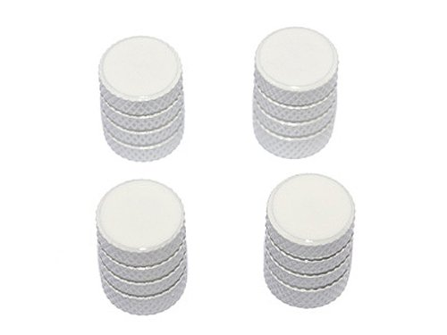 Graphics and More Tire Rim Wheel Aluminum Valve Stem Caps - White Color
