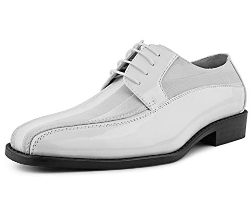 Groom Wedding Shoes - Amali Men's Lace Up Tuxedo Oxford with Statin Striped Design Oxford Dress Shoe, Style Avant White
