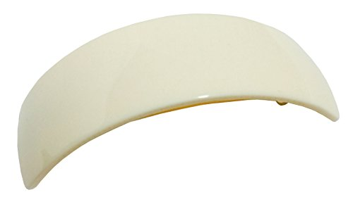 French Amie Curved Large Ivory Cream Handmade Strong Grip Celluloid Automatic Volume Hair Clip Barrette (Ivory Cream with Golden Clasp)