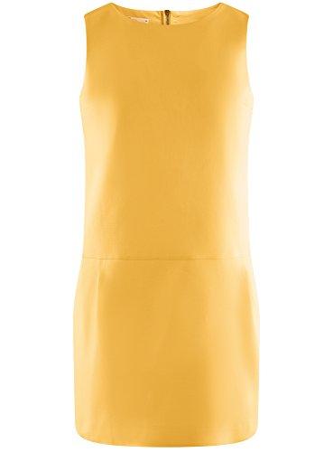 oodji Ultra Mujer Vestido Grueso sin Mangas de Algodón Amarillo (5100N)