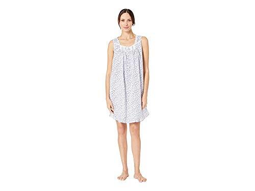 Eileen West Women's Cotton Woven Lawn Sleeveless Short Chemise White Ground Multi Ditsy X-Small (West Eileen Short)
