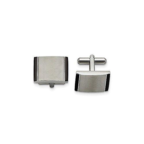 - Mia Diamonds Stainless Steel Black Acrylic Cufflinks