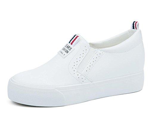 XIE Señora Zapatos Verano Interno Aumento Retro Pequeño Blanco Zapatos PU Ocio Estudiantes Escuela Compras Negro Blanco, 39 WHITE-38