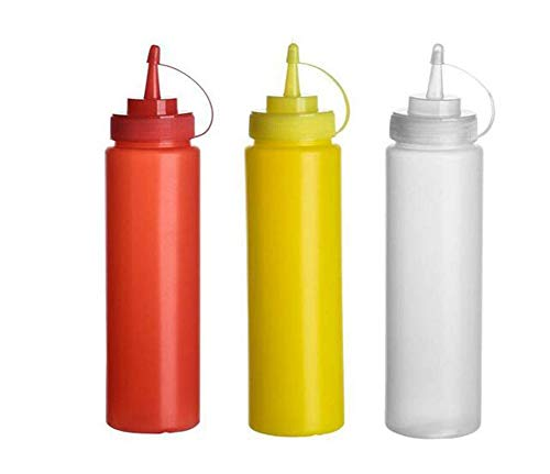 3Pcs Random Color Empty Refillable Plastic Sauce Condiment Squeeze Bottles for Ketchup Mustard Sauce Vinegar Cream Honey Salad Dressing and Seasoning(480ml/16oz)