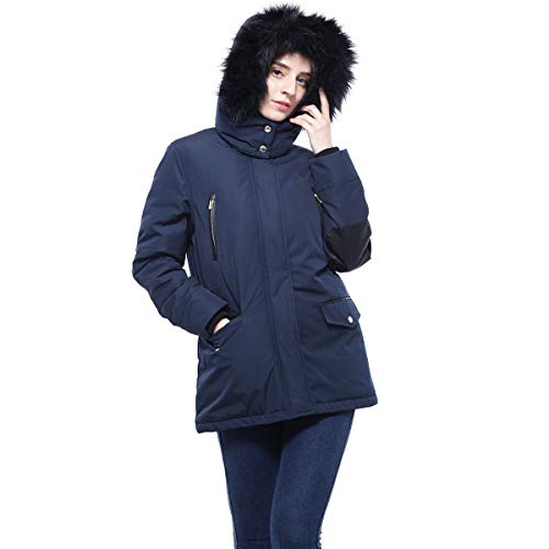 Rokka&Rolla Women's Lined Hooded Thickened Insulated Winter Parka Jacket Anorak Puffer Coat with Removable Faux Fur Trim Black Iris from Rokka&Rolla