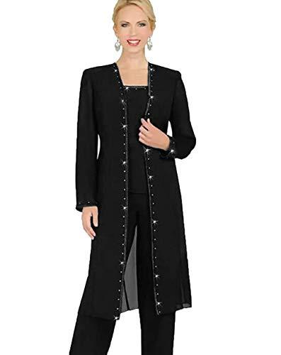 WZW Designer 3 Piece Chiffon Pant Suits Mother of The Bride Pant Suits Long Jacket Evening Party Black