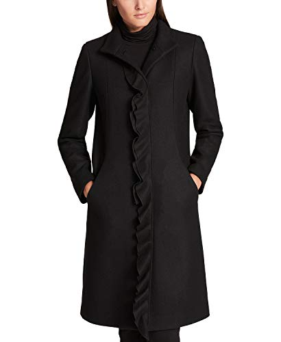 DKNY Women's Ruffle-Trim Wool-Blend Walker Coat, Black, Size ()