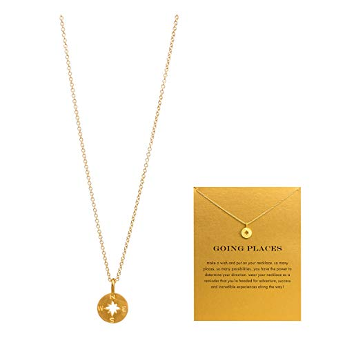 VIIRY Friendship Compass Clavicle Necklace with Blessing Card,Small Dainty Gold Pendant Necklace for Women Gift Card