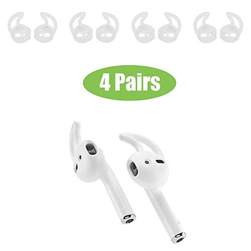 Beam Electronics Ear Hooks Covers Accessories Tips Compatible in Apple AirPods EarPods Headphones/Earphones/ Earbuds [Secure Fit, Anti-Slip Guaranteed] [Built Adventure] (4 Pairs) (Clear)