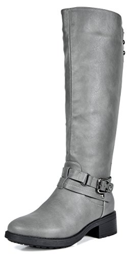 DREAM PAIRS Women's Uncle Grey Knee High Motorcycle Riding Winter Boots Size 8.5 M US