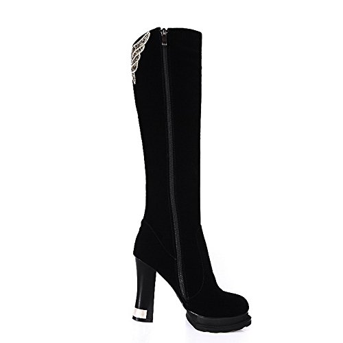 Decoration Women's Rubber Black High Suede Metal Imitated and with Frosted Soles Heels Boots Allhqfashion PfTzxP