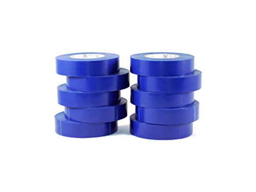 T.R.U. EL-766AW Blue General Purpose Electrical Tape 3/4 (W) x 66 (L) UL/CSA listed core. Utility Vinyl Synthetic Rubber Electrical Tape (10 Pack) - Suitable for Use At No More Than 600V and 80 C.