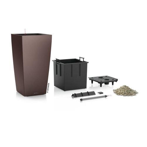Lechuza EP-LCUB-ESP-12 12 x 12 x 22 in. Cubico Premium Planter44; Espresso Metallic by Lechuza