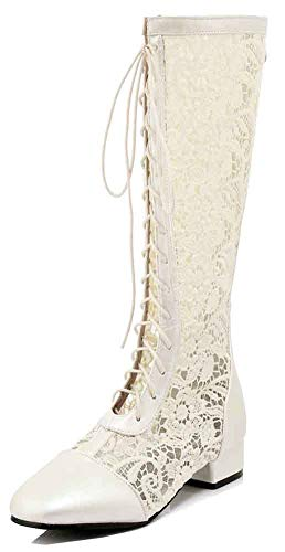 Aisun Women's Mesh Round Toe Chunky Low Heels Lace up Gladiator Under The Knee Sandals Boots with Zipper (Beige, 4.5 B(M) US)