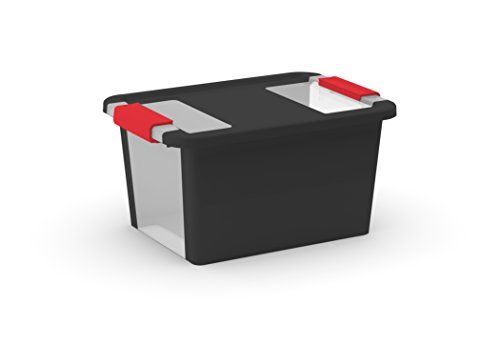 KIS Black/Clear Base Bi-Box with Lid and Red Handles, Small (set of (Latching Tote)