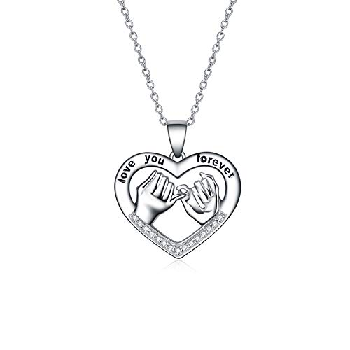 YFN Sister Friendship Girlfriend Necklace Sterling Silver Love You Forever Heart Pendant Necklace Birthday Gifts for Her 18