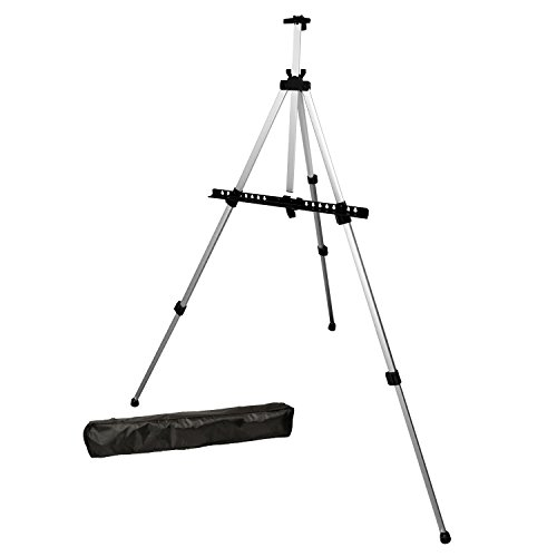 US Art Supply Silver Pismo 65 inch Tall Lightweight Aluminum Field Floor and Table Easel with Bag