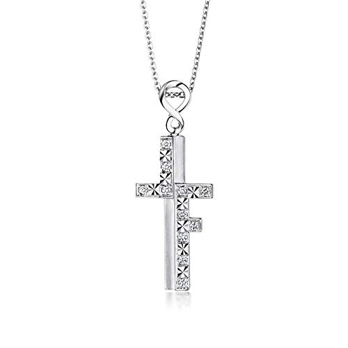 Beydodo 18K Necklaces for Women Gold Real Polished Cross Pendant with Diamond Valentines Day Necklace