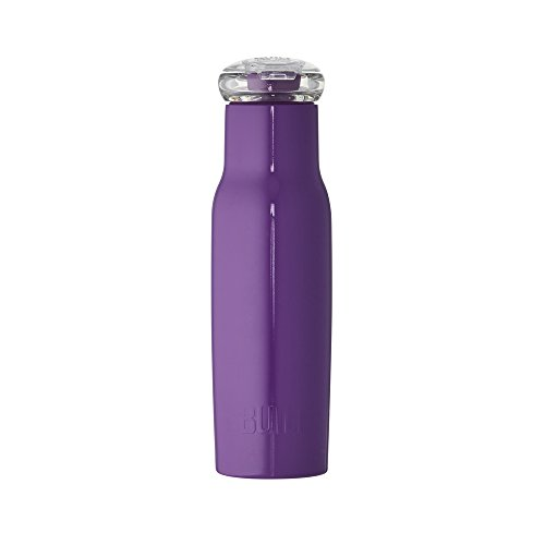 Built NY Double Wall Stainless Steel Water Bottle with Tritan Flip Top Lid, 18-Ounce, Purple ()