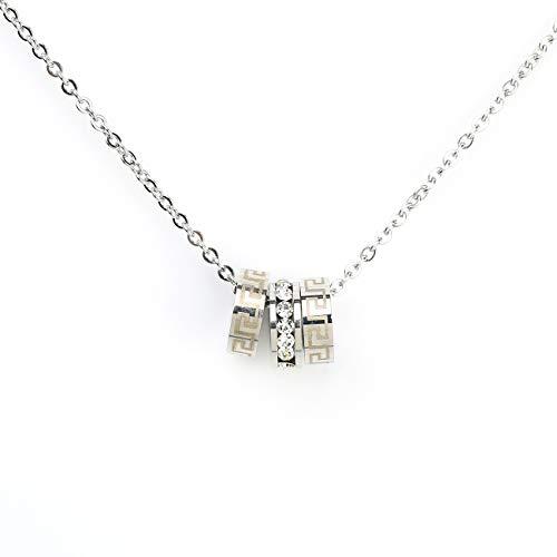United Elegance Sleek Silver Tone Designer Necklace and Stacked Circular Pendants with Greek Key Design and Sparkling Swarovski Style Crystals (160082)