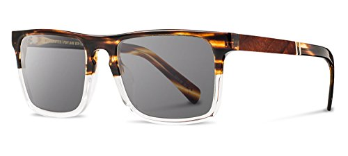Shwood - Govy 2 Acetate, Sustainability Meets Style, Whiskey Soda/Ebony, Grey - Whiskey Barrel Sunglasses
