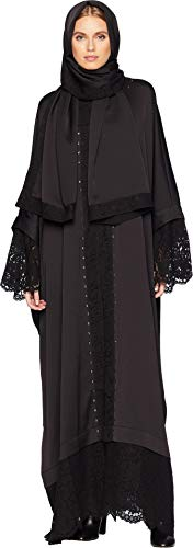 Embellished Couture (Juicy Couture Women's Embellished Abaya with Lace Pitch Black Petite/Small)