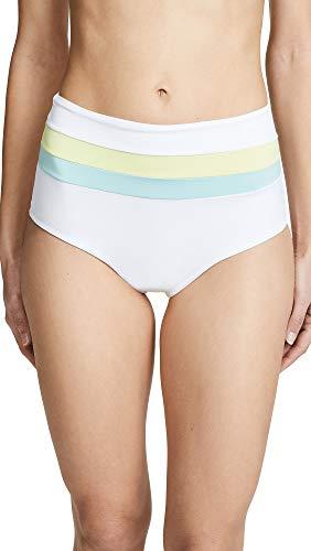 LSpace Women's Portia Stripe Classic Bikini Bottoms, White/Light Turq/Lemonade, Small