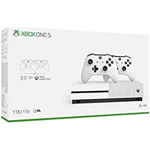 Newest Flagship Microsoft Xbox One S 1TB HDD Bundle with Two (2X) Wireless Controllers, 1-Month Game Pass Trial, 14-Day Xbox Live Gold Trial – White