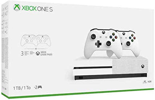 Newest Flagship Microsoft Xbox One S 512GB SSD Bundle with 512GB SSD Fast Boot, Two (2X) Wireless Controllers, 1-Month Game Pass Trial, 14-Day Xbox Live Gold Trial – White