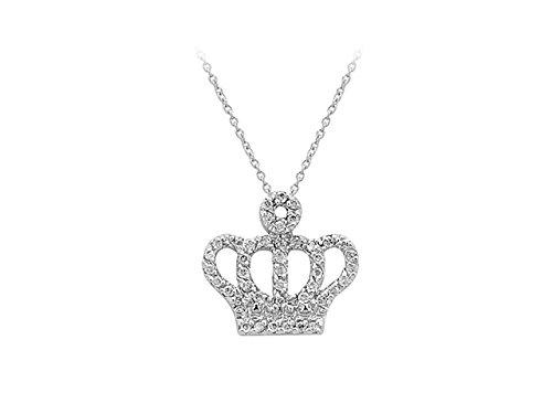 Birgie Diamants et Bijoux - Pendentif Couronne de Diamants-Femme- or Blanc 201P0029