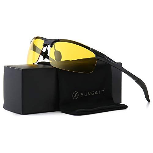 SUNGAIT HD Polarized Anti-Glare Safety Sunglasses for Night Driving UV Protection(Black Frame/Night -