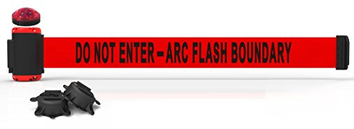 - 7' Magnetic Wall Mount Barrier with Light Kit -Do Not Enter - Arc Flash Boundary Banner MH7010L