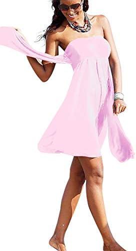 Bestgift Dames polyester eenkleurig badpak over schouder minijurk backless strandrok