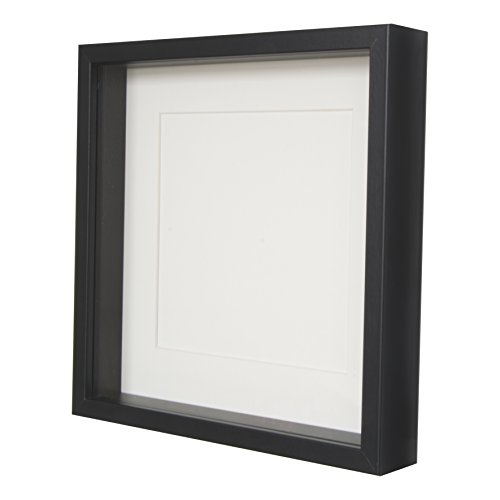 BD ART Black Shadow Box 3D Square Picture Frame 28 x 28 x 4.7 cm with Mount 8x8 inch