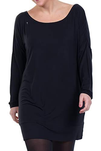 de con barco Vestido larga negro negro sin cuello manga mangas 3elfen qHwUdf