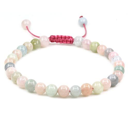 Natural A Grade Morganite Beryl Aquamarine Gemstone 6mm Round Beads Adjustable Bracelet 7